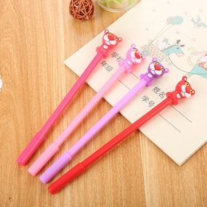 24 pcs creative silicone cartoon pink panther gel pen cute learning kawaii stationary school supplies for girls