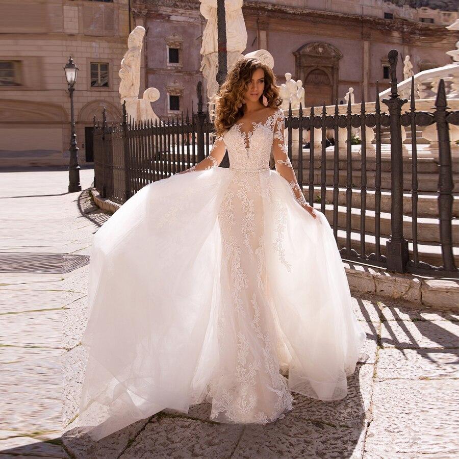 فستان زفاف تول ، أكمام طويلة ، مزين بالدانتيل ، حورية البحر ، مع ذيل قابل للفصل ، 2020
