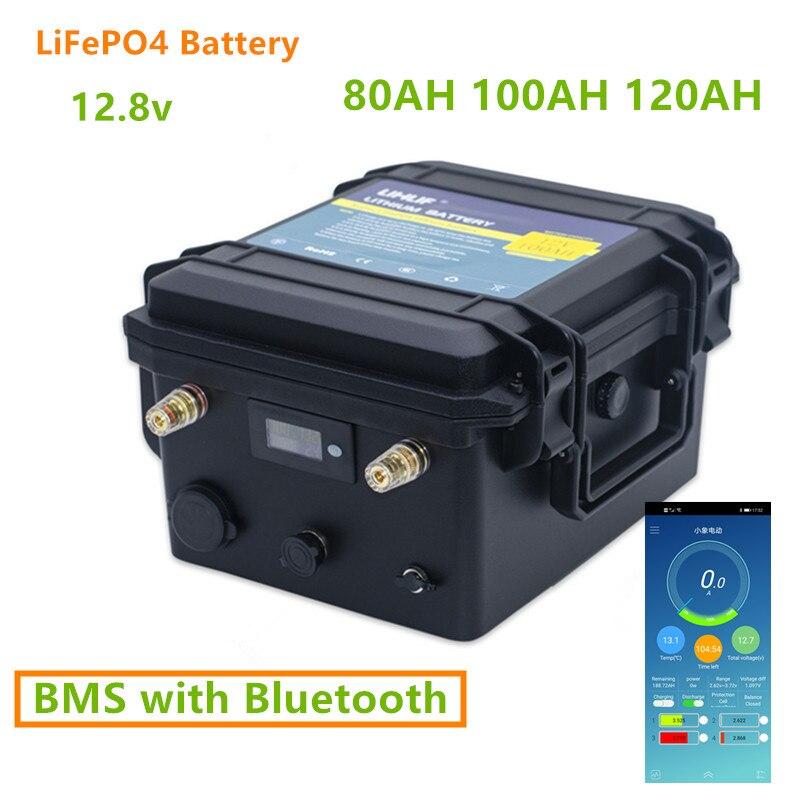 12V 80AH 100AH 120AH LiFePO4 البطارية مع بلوتوث BMS 12v lifepo4 بطارية حزمة 80ah 100ah 120ah ليثيوم 12v مع 10A شاحن