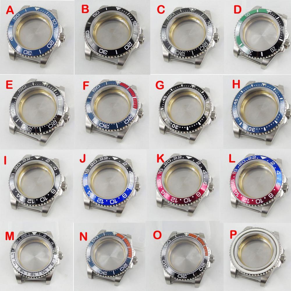 Fit NH35 /NH36 mouvement automatique en acier inoxydable 40mm boîtier de montre avec lunette rotative en verre saphir