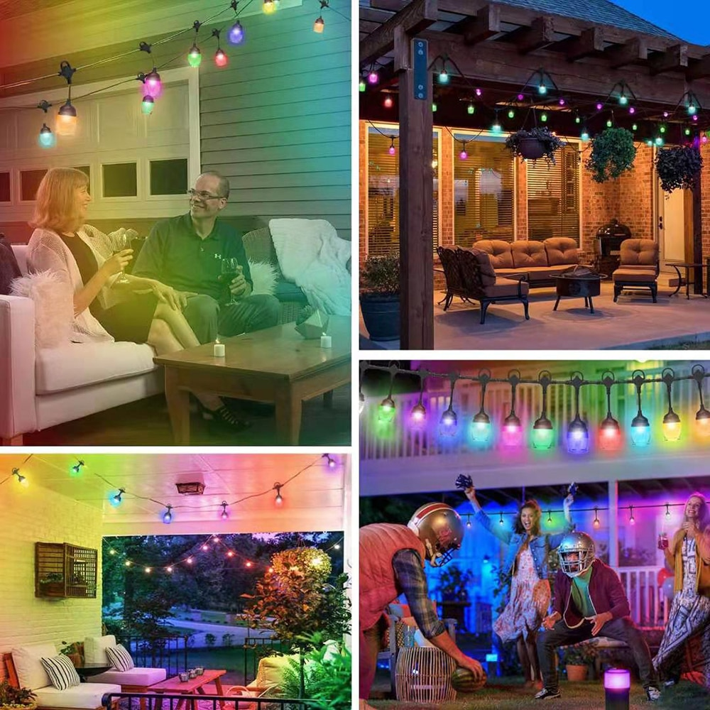 RGB LED String Lights Waterproof Multiple Modes String Lamp With Remote & Voice Control Terrace Decor Light For Holiday Party enlarge