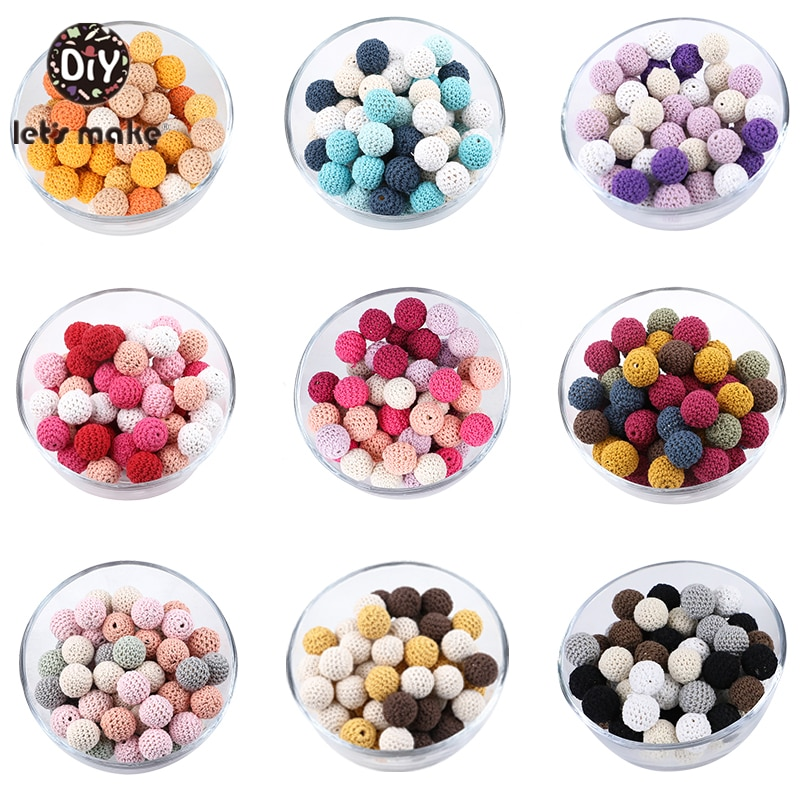 Let's Make 16mm 10pc Wooden Crochet Beads Chewable Beads DIY Wooden Teething Knitting Bead Jewelry Crib Sensory Toy Baby Teether