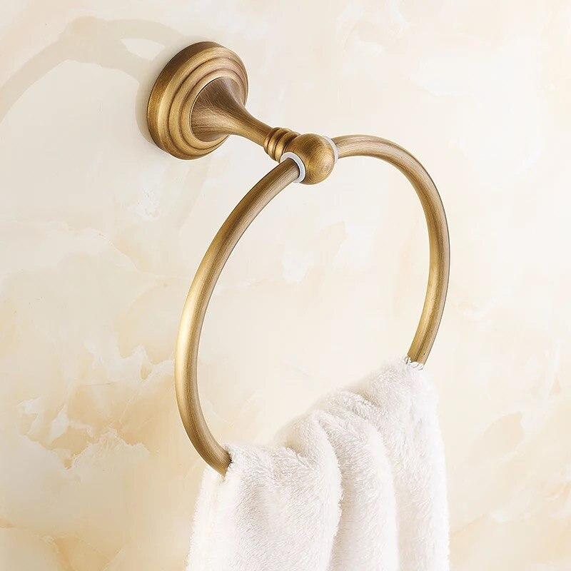 Accesorios de baño de cobre, anillo de toalla de latón antiguo, soporte de toalla de baño de montaje en pared de bronce a la moda, colgadores