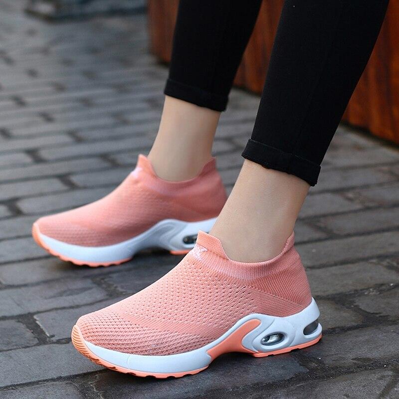 Женские кроссовки для бега, дышащие кроссовки с воздушной подушкой, женские спортивные кроссовки на платформе, увеличивающие рост