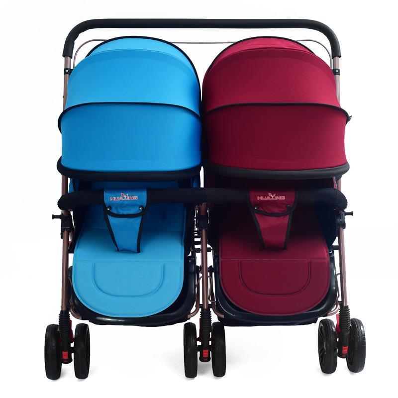 عربة أطفال مزدوجة للأطفال ، عربة أطفال خفيفة الوزن قابلة للطي للجلوس والاستلقاء ، عربة أطفال مزدوجة لحديثي الولادة