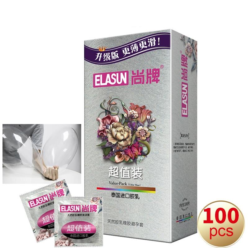 Elasun 100 unidades/pacote ultra fino preservativo de alta qualidade grande óleo natural látex preservativos para homem luvas contracepção