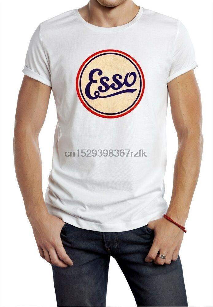Camiseta de deporte de motor de Esso, camiseta de carreras de aceite, camiseta blanca vintage