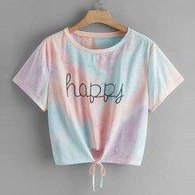 Camisetas de moda las mujeres Tie-dye feliz impreso cuello Top corto manga corta Camiseta forzosamente ete femme camiseta