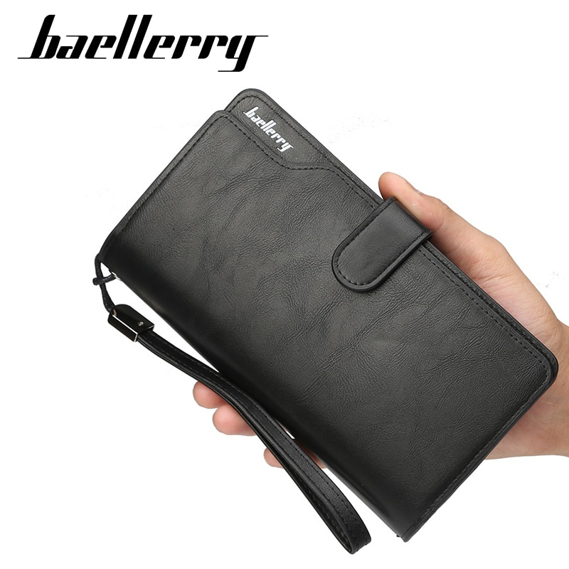 Baellerry Multifunction Men Wallets Long Style Card Holder Male Purse Zipper Large Capacity PU Leather Wallet For