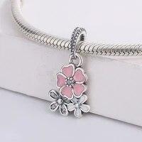 925 sterling silver enamel flower pink cherry pendant beads charm bracelet cz bead fit original bracelet diy jewelry for pandora