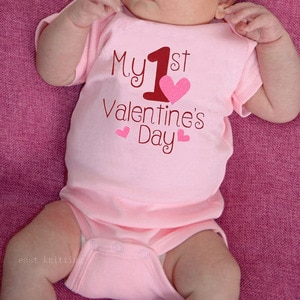 My 1st Valentine's Day New Arrive Newborn Jumpsuit White O-neck Newborn Outfits Playsuit