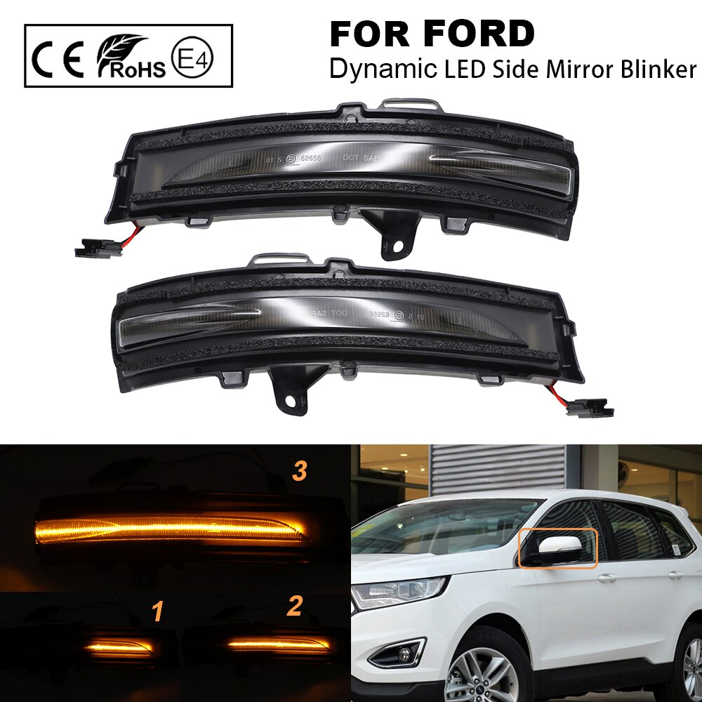 2Pcs For Ford Edge 2015-2018 Car Dynamic LED Side Mirror Blinker Sequential Indicator mirror Lamp Turn Signal Lamp Smoked