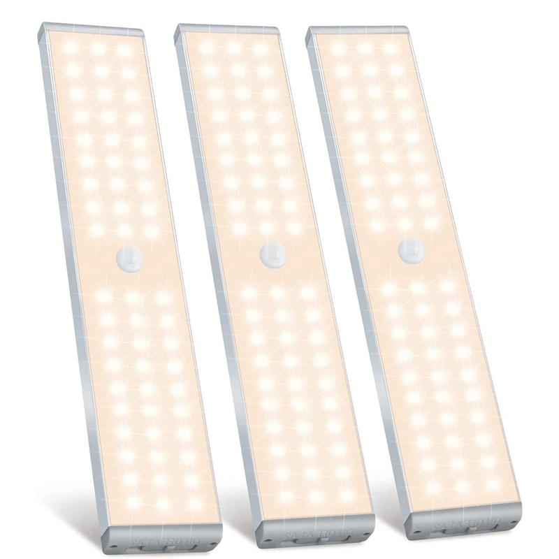 تعزيز! LED مصباح الخزانة ، 60 LED قابلة للشحن محس حركة مصباح الخزانة ضوء تحت الكابين ، لخزانة الملابس ، الدرج ، غرفة النوم ، 3 P