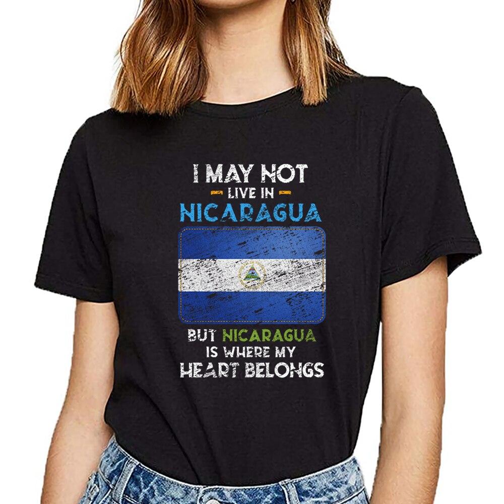 T-shirts mulheres nicarágua design preto impressão feminina tshirt