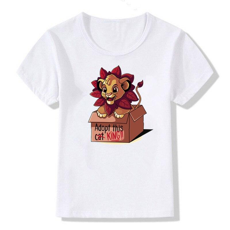 Camiseta con estampado de rey y León para bebés de Hakuna Matata, camiseta bonita de dibujos animados para niños y niñas, ropa divertida, camiseta blanca para bebés