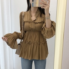 Miss Don't Korean Chic Spring New Ruffled Collar Pleated Figure Flattering Blouse Bell Sleeve Chiffo