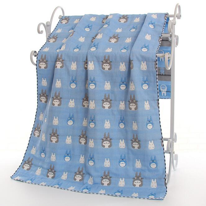 140X70cm rosa/azul 100% algodón 6 capas gasa totoro toalla manta suave baño Toalla grande playa toalla adultos niños lanzar