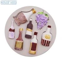 red wine bottle grape shape silicone mold diy fondant cake mold baking tools