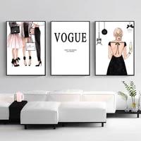 Affiches murales en Vogue imprimees pour filles  Art de mode  peinture sur toile  images murales modernes pour chambre de filles  decoration de maison