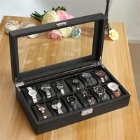 luxury 61012 grids watch box carbon fibre pattern watch storage box watch display slot case storage organizer holder container