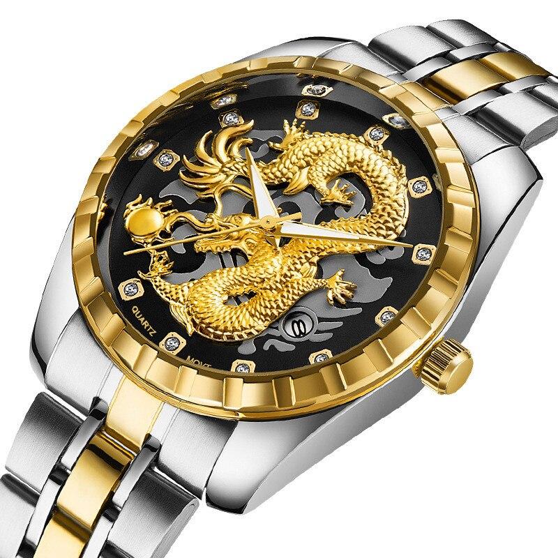 Relógios de Negócios dos Homens da Marca de Luxo Tira à Prova Superior Dragão Ouro Diamante Dwaterproof Água Aço Homem Relógios Pulseira Relógio Presente Masculino 2021