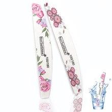 5 unidades de lima de uñas 100/180, tampón profesional de flores de colores para manicura, uñas acrílicas, puntas de arte lavables, herramienta de archivos salón grueso