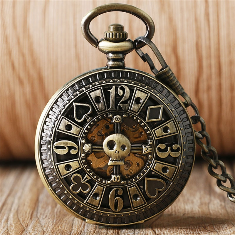 Vintage Bronze Poker Hollow Out Pocket Watch Men Women Automatic Mechanical Watches with Chain Skeleton Clock Pendant Chain Gift