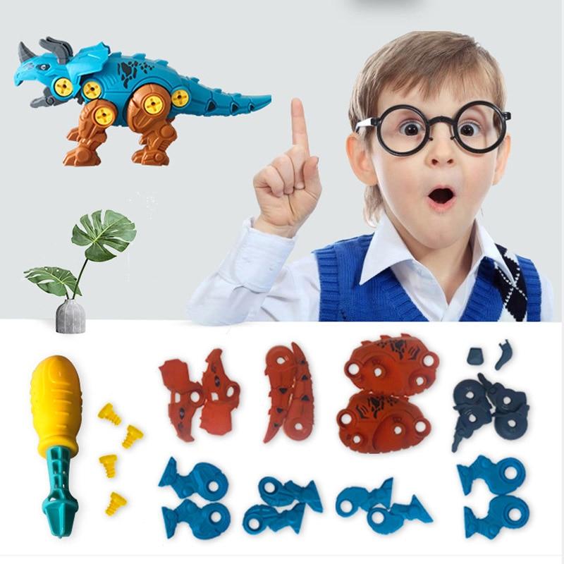 DIY tornillo tuerca grupo montado dinosaurio huevo juguetes educativos regalos 3D rompecabezas grupo instalado juguetes de plástico para niños