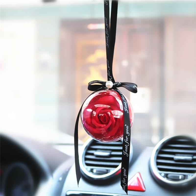 Car Pendant Eternal Rose Flowers Ball RearView Mirror Hanging Decoration Soap Flower Ornament Suspension Auto Accessoriess