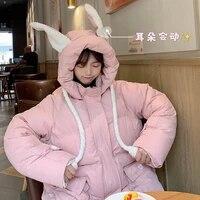 japanese harajuku womens parka female oversize vintage zipper reversible coat plus size winter down jacket sweet female roupas