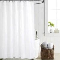 Rideau de douche blanc pur europeen  couleur unie  tissu Polyester  epais  impermeable  moule  cloison de salle de bain Simple