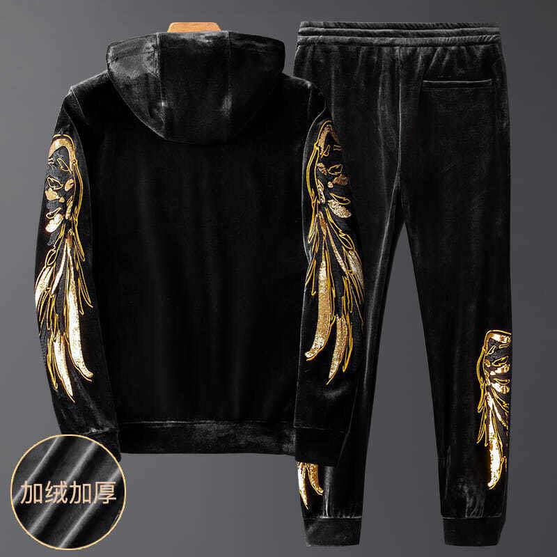 2020 new plush leisure sports suit for men Korean style slim fit winter two piece mens fashion