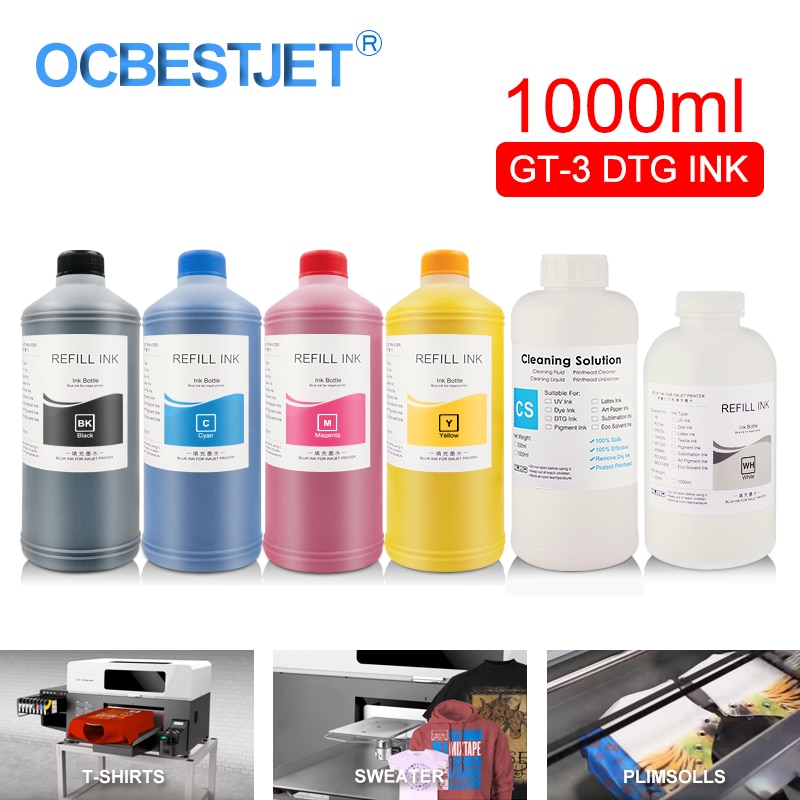 GT-3 DTG Inchiostro Tessile Bottiglia Indumento Inchiostro Per Brother GT-341 GT-361 GT-381 GT3 Serie Diretta alla Stampante Indumento (6 colore Opzionale)