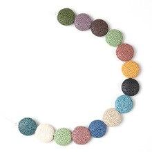 Natürliche Bunte Flache Runde Lava Perlen Münze Form Vulkangestein Lose Spacer Perlen Schmuck Ohrringe Halskette DIY 20/27/32mm