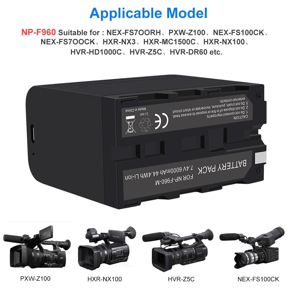 Palo 6000mah npf960 NP-F970 NP-F960 f970 pro bateria com saída de carga usb para baterias PLM-100 CCD-TRV35 MVC-FD91 mc1500c