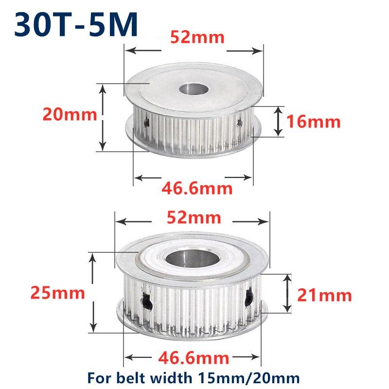 30 zähne HTD 5M Timing Synchron Pulley Bohrung 5/6/6.35/8/10/12/14/15/16/17/18/19/25mm für Breite 15/20mm HTD5M 30 Zähne 30 T