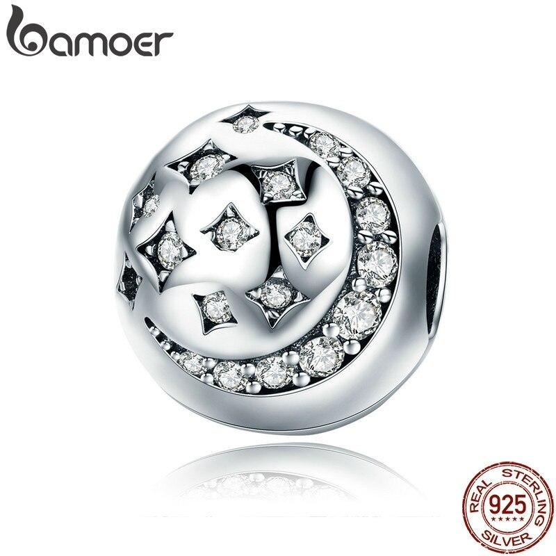 BAMOER 925 Sterling Silver Moon & Star Stopper Clip Sparkling CZ Beads fit Bracelet for Women DIY Jewelry Making SCC813