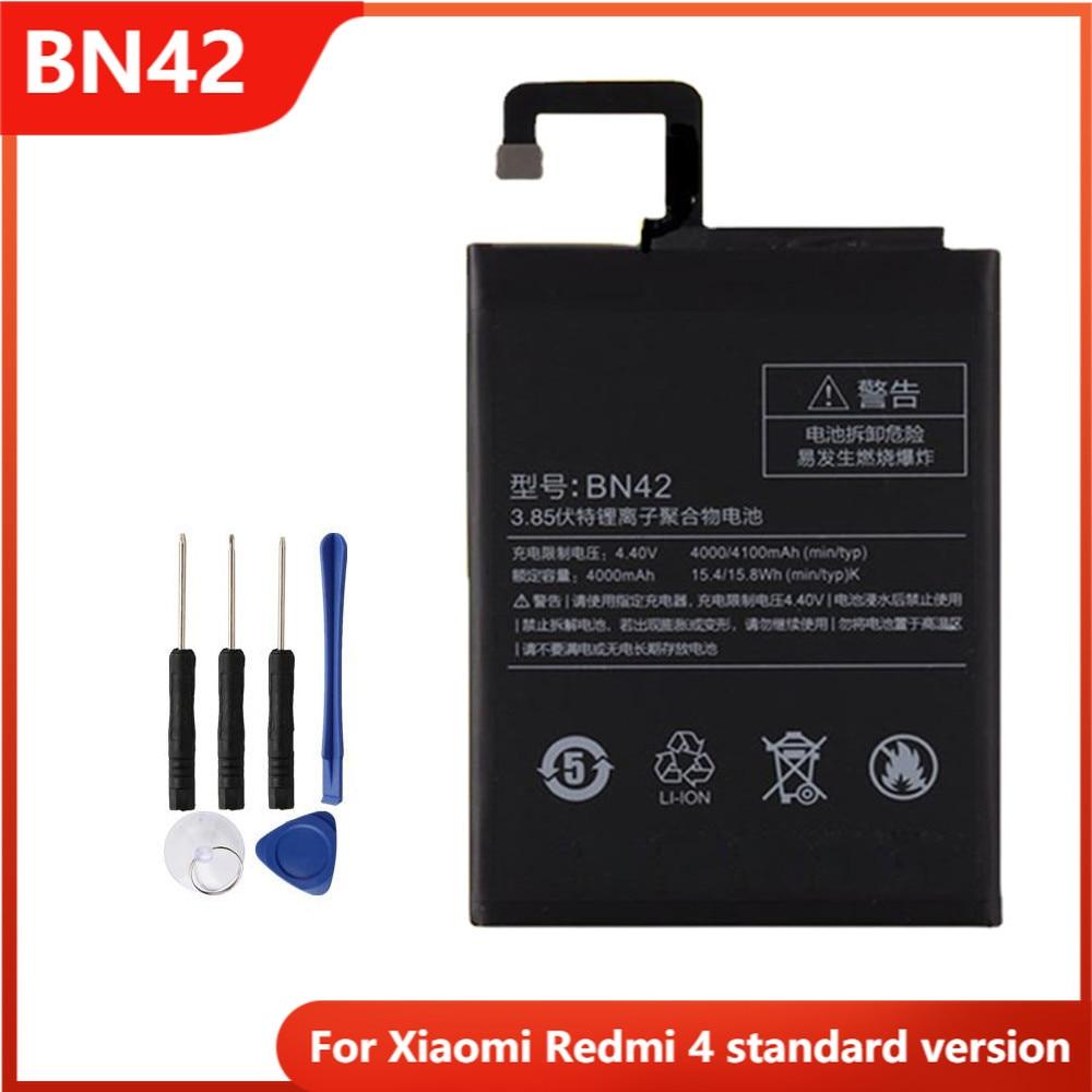 Аккумулятор для телефона BN42 для Xiaomi Redmi 4 Hongmi4 Redmi4 стандартная версия Сменные аккумуляторные батареи 4000 мАч
