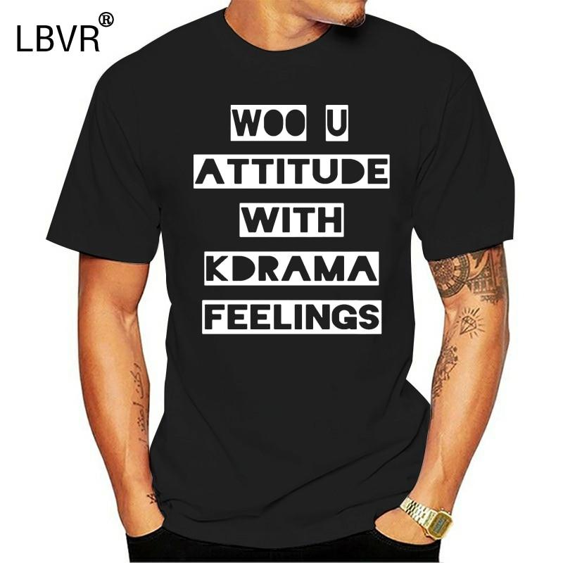 Fashion Woo U Kpop Attitude With Kdrama Feelings Men T-Shirt T Shirt For Mens Tshirt For Men Solid Color Fitness Hip Hop