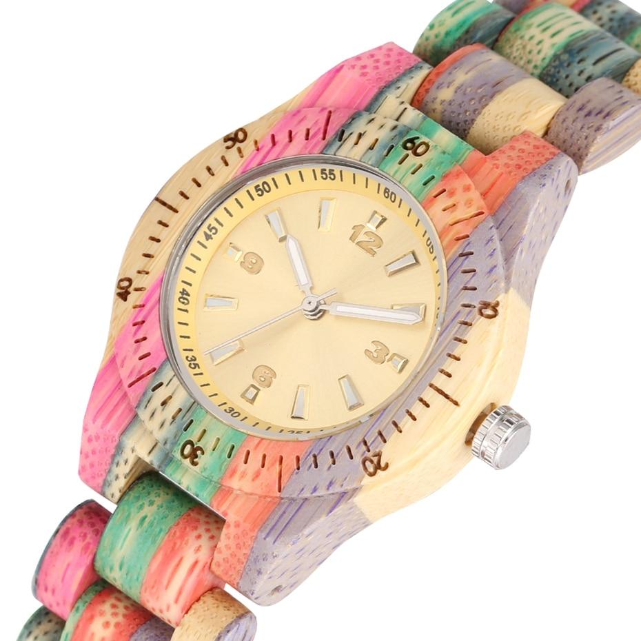 Vogue feminino relógio de pulso de quartzo de bambu de madeira artesanal natural colorido topo luxo montre bambu dama madera relojes de mujer