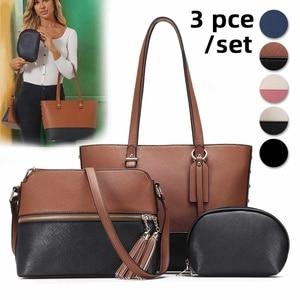 New Fashion Women Bag Shoulder Bag Set Handbags Small Women PU Leather Multifunctional Hand bags Solid Clutch Zipper Crossbody