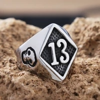 gothic gold lucky 13 skull ring men women punk hip hop stainless steel biker mens number 13 ring fashion jewelry gift