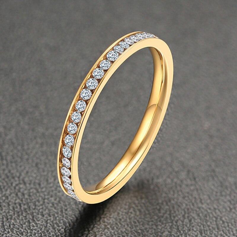 2MM de ancho mujeres CUBIC ZIRCONIA CHANNEL SET anillo en oro PRPPOSAL compromiso CZ anillos de cristal