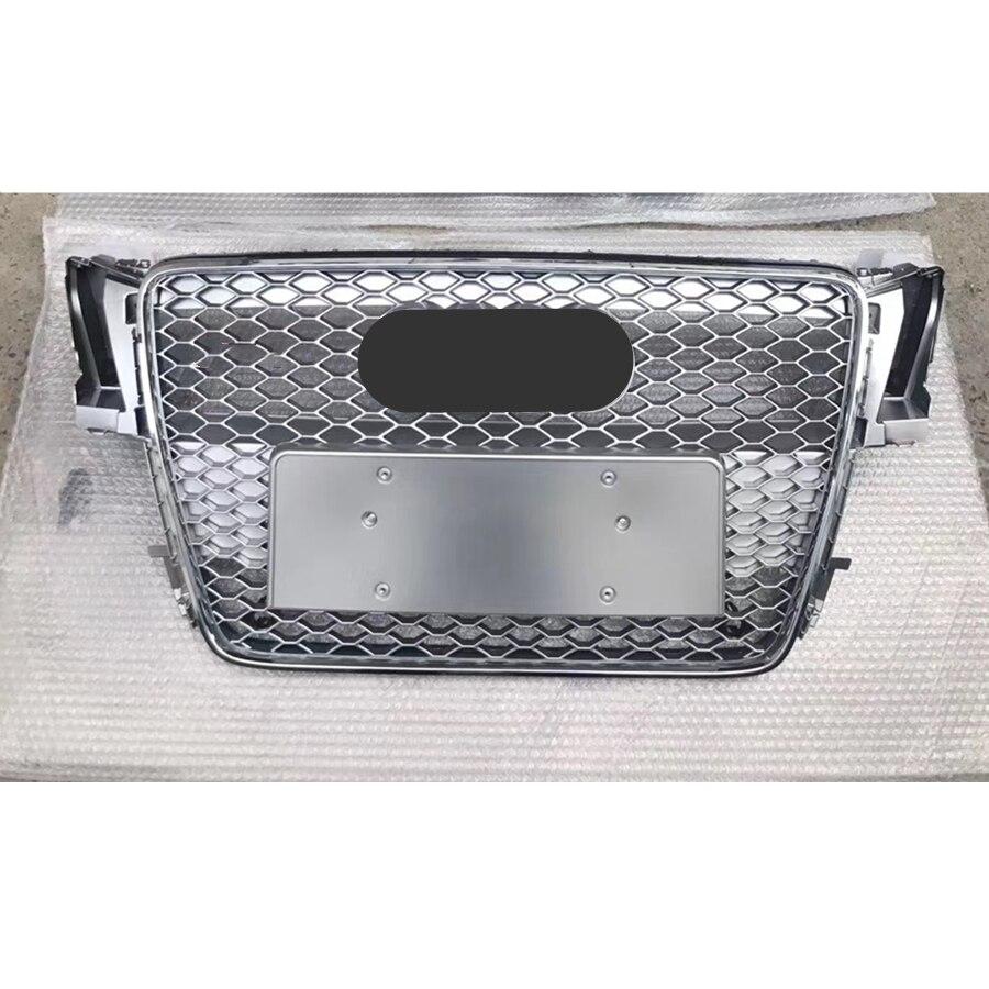 Für RS5 Stil Vorne Sport Hex Mesh Waben Haube Grill Silber für Audi A5/S5 B8 2008 2009 2010 2011