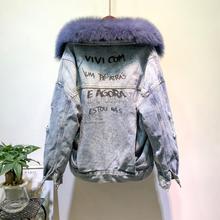 Mode hiver Chaud Col en Fourrure De Renard Naturel manteaux + Véritable Lapin Cheveux Doublure Veste En Jean Femmes perles Épais Réel Fourrure Outwear F25