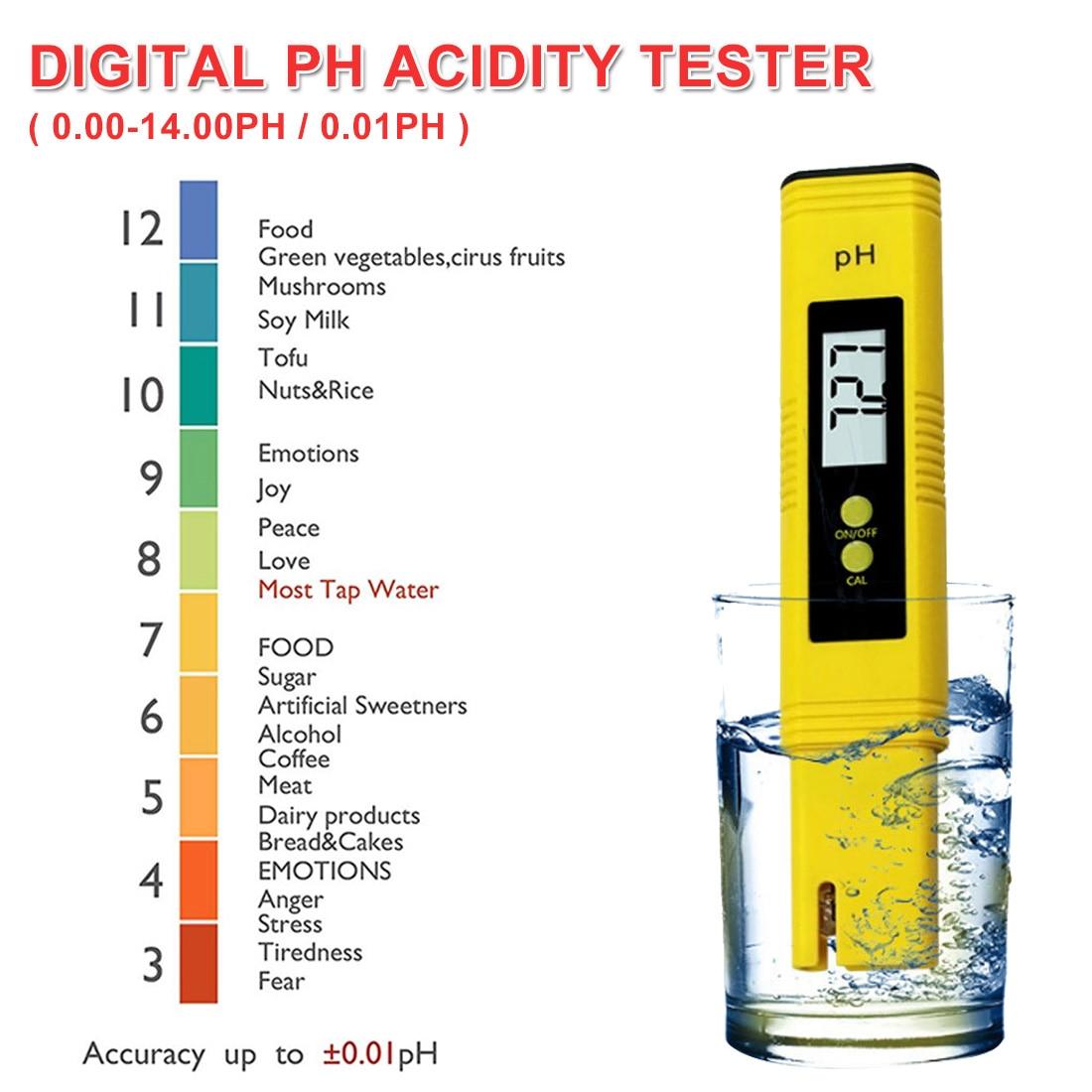 Large LCD Display Digital PH Meter Tester for Water Food Aquarium Pool Hydroponics Pocket Size Pen Type PH Tester Accuracy 0.01 pocket vibrometer pen type vibration meter tester gauge analyzer measure precision sensitivity accelerometers smartsensor as63d
