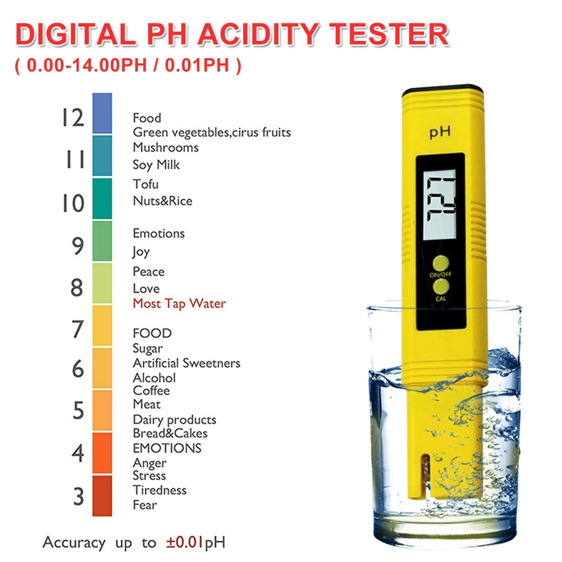Large LCD Display Digital PH Meter Tester for Water Food Aquarium Pool Hydroponics Pocket Size Pen Type PH Tester Accuracy 0.01