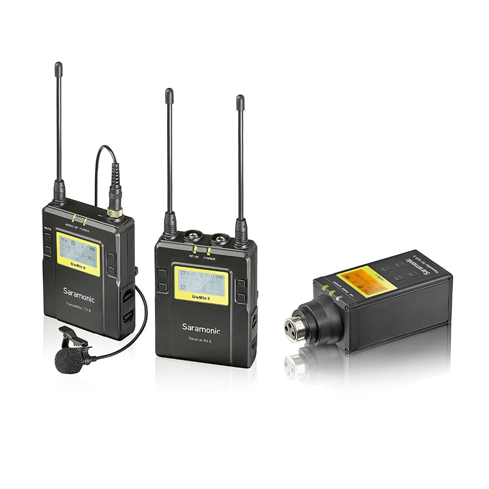 Saramonic UWMIC9 UHF de Lapela + XLR Transmissor do Sistema de Microfone Sem Fio com Bodypack Transmissor + Lav Mic, XLR Plug-in unidade