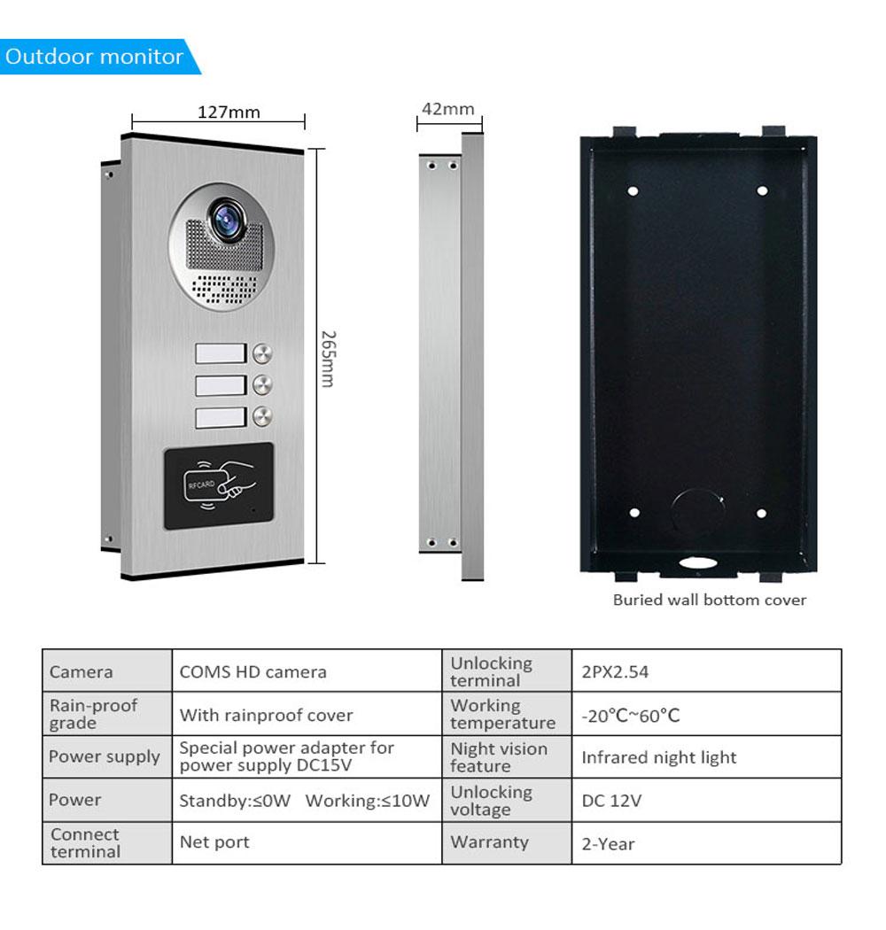 APP Video Intercom 9 Inch Wifi Video Door Bell Intercom System with 2-3 Family Multi nits Apartment Video Door Phone Intercom enlarge