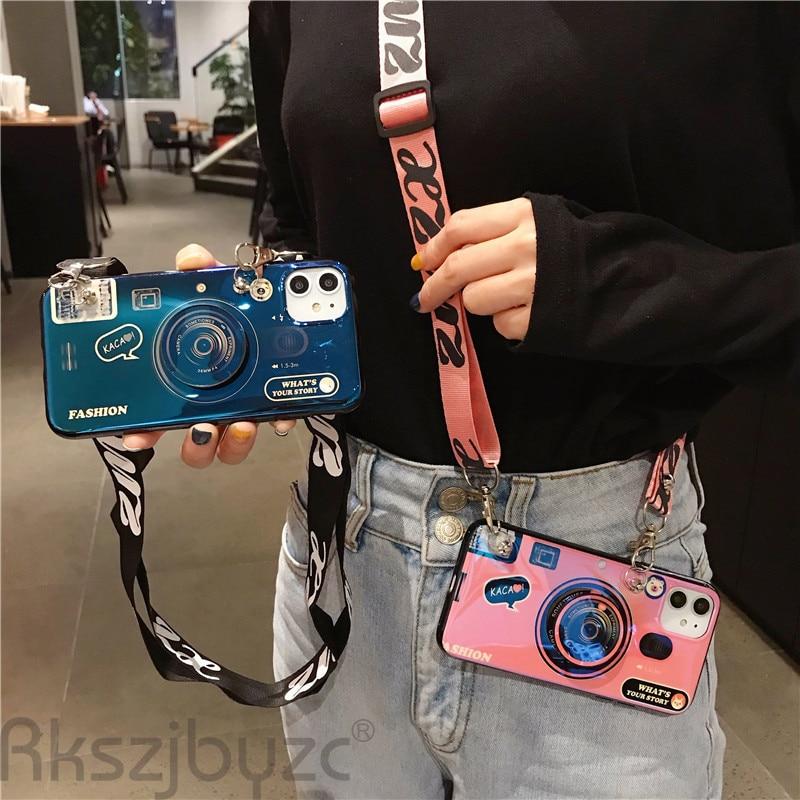 Funda de cordón de cámara para Iphone 6S 7 8 Plus X XS para Huawei P20 P30 Mate 20 30 Pro, funda de teléfono de silicona con soporte a la moda